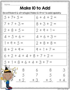 January MATH Common Core Crunch Packet, $4. I like the idea of this worksheet: add 3 numbers by first making 10. 1st math.
