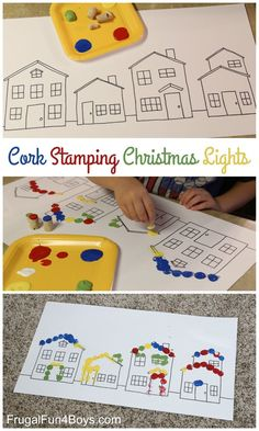 Painting Christmas Lights with Corks - Fun Christmas activity for preschoolers!