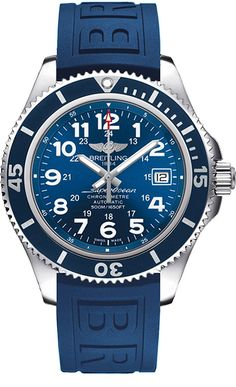 """Breitling Superocean II 42 A17365D1/C915-148S. - WITH MANUFACTURER SERIAL NUMBERS - Mariner Blue Dial - Date Feature - 40 Hour Power Reserve - Self Winding Automatic Chronometer Movement - Breitling Caliber 17 - Vibrations Per Hour: 28,800 - Jewels: 25 - Guaranteed Authentic - Certificate of Authenticity - Manufacturer Box & Manual - Polished Stainless Steel Case - Blue Rubber Strap - Scratch Resistant Glareproof Sapphire Crystal - 500 Meters / 1,650 Feet Water Resistant - 42mm = 1 5/8""""…"""