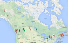Map of all Canadian distilleries