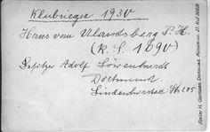 Text on reverse side of the picture of Adolf Löwenhardt's dog. Translation: Club champion 1930. Hans (?) vom ??berg P.H.  (R.S. 1090). Besitzer (?) Adolf Löwenhardt, Dortmund, Lindenhorster straße 235.