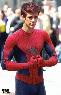 grant-gustin dressed as spiderman??? wait what was this?! someone tell me!!!!! comment below if you know!!