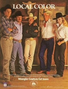 Jim Shoulder, Ted Nuce & other rodeo champions for Wrangler Cowboy Cut Jeans - 1987 print ad. Vintage Denim, Vintage Ads, Vintage Prints, Vintage Photos, Wrangler Cowboy Cut, Wrangler Jeans, Cowgirl Photo, Cowboy And Cowgirl, Ty Murray