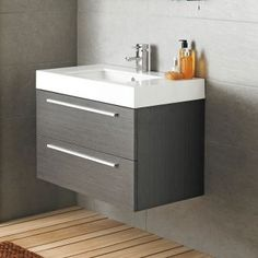 Designer Style Silhouette Basin and Cabinet Wall Hung Grey Bathroom Vanity Storage Unit Floating Bathroom Vanities, Bathroom Vanity Storage, Bathroom Sink Cabinets, Wall Mounted Bathroom Sinks, Wall Mounted Vanity, Vanity Sink, Bathroom Furniture, Unit Bathroom, Floating Vanity