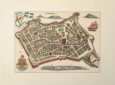0 antique map of Saint-Malo France 1944