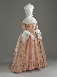 1770 Woman's Dress and Petticoat (Robe à l'anglaise). England, Brocaded silk taffeta; linen-lined bodice, LACMA