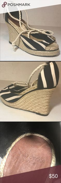 Classic Kate Spade Summer Espadrilles Classic Kate Spade black and white wedge espadrilles. Wrap around leg closure. From a pet and smoke free home.  Gently worn. kate spade Shoes