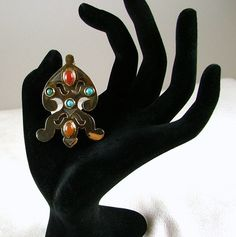 Sterling Silver and Gold Brooch with Turquoise and by KatsCache