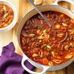 Hearty Pasta Fajioli Recipe -Here's an Italian favorite. Spaghetti sauce and canned broth form the flavorful base. —Cindy Garland, Limestone, Tennessee