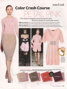 "The October 2012 issue of InStyle provides a two-page ""color crash course"" in petal pink, noting: ""This season, designers are proving this ultra-feminine shade can work year-round."" A gold-plated ring set with chalcedony from Betty Carre is featured on the first page of the article"
