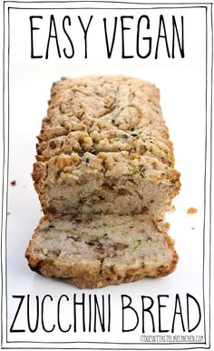 Tastes just like banana bread except without the bananas. It's lightly sweet, with a hint of cinnamon, a walnut crunch, and the best part (and the magic zucchini provides), it's extra-extra-moist. The best vegan zucchini bread r Healthy Vegan Dessert, Vegan Dessert Recipes, Vegan Sweets, Whole Food Recipes, Eating Healthy, Vegan Zucchini Recipes, Best Vegan Recipes, Vegan Foods, Copycat Recipes