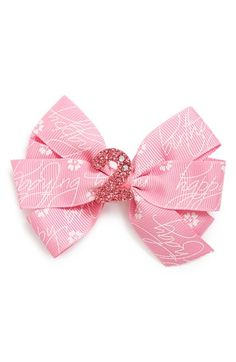 Toddler Girl's PLH Bows & Laces Glitter Birthday Bow - Pink