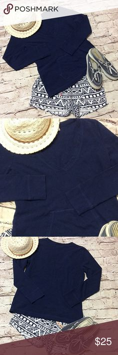 """LIZ CLAIBORNE NAVY BLUE V-NECK SWEATSHIRT Very cute and perfect for spring. Not too heavy, it's just right.  Front pocket.  Navy blue. Measurements lying flat Bust 19"""" length 24.5"""" Liz Claiborne Tops Sweatshirts & Hoodies"""