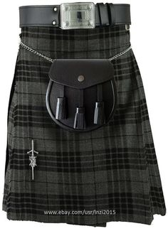 Scottish Wedding Highland Hamilton Grey Tartan Kilt Outfit 6 Pcs Sporran Belt #RoyalSwag #Kilt