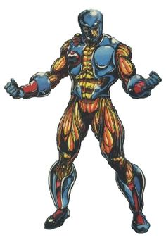Aric, the Visigoth in the X-O Manowar Armor. A living suit of armor from an a spider-alien species imbued with the consciousness of their greatest warrior and statistician. Only those chosen by the armor can wear it; if you attempt to wear it and you are not worthy, the armor kills you. Nearly invulnerable, and armed with a weapons systems that is constantly evolving, it is one the deadliest weapons in the galaxy.