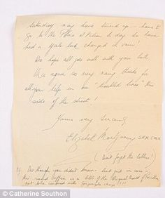 The end of the letter from Elizabeth Montgomery, Sir Alexander's housekeeper, ended with a short note explaining that she had enclosed a sample of the original penicillin mould Alexander Fleming, Elizabeth Montgomery, Housekeeper, Notes, Lettering, The Originals, Things To Sell, Report Cards, Notebook