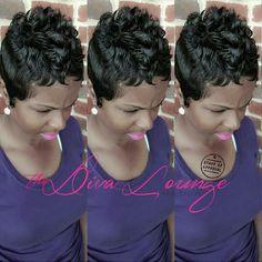 The Diva Lounge Hair Salon Montgomery, AL Larnetta Moncrief, Stylist/ Owner Short Sassy Hair, Short Hair Cuts, Pixie Cuts, Short Pixie, Short Black Haircuts, Cute Haircuts, Love Hair, Gorgeous Hair, Curly Hair Styles