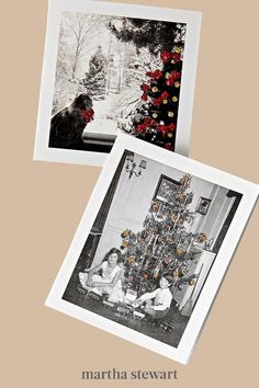 Photo cards are great for family updates, but they can feel like a mass mailer. For personal pop, strategically dot on craft glue, sprinkle with glitter, tap o the excess, and let dry. Fill a sky with stars or snowflakes, bedeck a tree, or encrust a pet's collar—and lend a handmade feel, fast. #marthastewart #christmas #diychristmas #diy #diycrafts #crafts