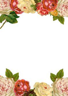 Free printable vintage rose stationery multicolored - ausdruckbares Briefpapier - freebie | MeinLilaPark – DIY printables and downloads