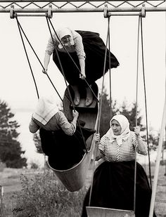 "Swinging grannies, Slovakia, 1966. From ""Poetry of Totalitarian Regime"", Prague"