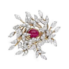 Estate Tiffany & Co. Schlumberger Ruby & Diamond Foliate Cluster Spray Brooch