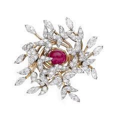 Estate Tiffany & Co. Schlumberger Ruby & Diamond Foliate Cluster Spray Brooch