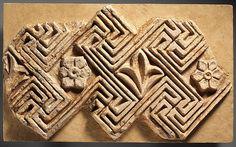 Wall decoration with geometric and floral decoration | Sasanian | Sasanian | The Met