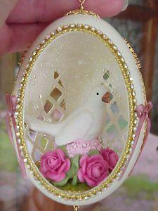 Bride/Groom Wedding Shower Decoration Gift Real Carved Decorated Goose Egg