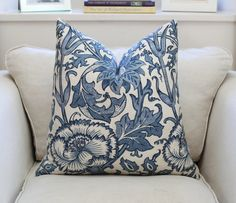 William Morris Pink and Rose in Vellum Indigo by William Morris DESCRIPTION Available in various sizes, please see drop menu for sizes and prices Blue Pillow Covers, Blue Pillows, Cushions Navy, Kilim Fabric, Tapestry Fabric, Modern Craftsman, Craftsman Style, Arts And Crafts Movement, William Morris