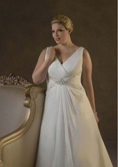 Chiffon Sleeveless V Neck A Line  Wholesale Plus Size Wedding Dress with Beading Style