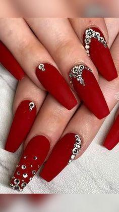 Red Matte Nails, Red Acrylic Nails, Red Glitter Nails, Red And Silver Nails, Red Stiletto Nails, Red Nail Art, Chrome Nails, Yellow Nails, November Nails