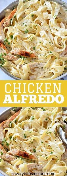 Learn how to make the best,quick and easy recipe of homemade skillet Chicken Alfredo pasta from scratch for dinner. The best Alfredo sauce,very simple,creamy and delicious - this one pot /one pan alfredo pasta is made with fettuccine,cream cheese,milk and cream to make the best sauce and finally the best chicken alfredo ever.Copycat Olive garden fettuccine alfredo! #savorybitesrecipes #chickenalfredo #olivegarden #alfredosauce #dinnerecipes #dinnerideas #chicken #onepot #copycat #easydinner Fettuccine Alfredo, Chicken Fettuccine, Homemade Chicken Alfredo Sauce, Homemade Alfredo, Alfredo Chicken, Homemade Pasta, Kfc, Best Alfredo Recipe, Pasta Dishes