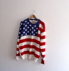 American Flag Vintage Sweater by KheGreen on Etsy