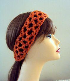 Crochet Head Band With Elastic Closure Orange Cinnamon Spring Summer Fall Winter Women Girls Clothing Hair Accessories Gift Ideas Under 20 by GrahamsBazaar, $14.99