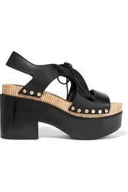 Studded cutout leather platform sandals