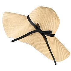 Noir HISSHE Femme Paille Bord Large Chapeaux Souple Plage Soleil Chapeau