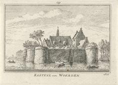 Gezicht op Kasteel van Woerden, Abraham Rademaker, Willem Barents, Antoni Schoonenburg, 1727 - 1733