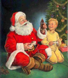 Coca-Cola Santa by Dan Andreasen Christmas Scenes, Noel Christmas, Father Christmas, Vintage Christmas Cards, Retro Christmas, Christmas Pictures, Xmas, Italy Christmas, Christmas Adverts