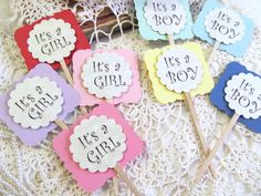 Baby Shower Cupcake Toppers Party Food Picks - It's a Boy or It's a Girl - Set of 12 on Etsy, £6.17