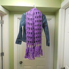 Crocheted Scarf, Fashion Scarf, Purple Scarf, Lacy Scarf