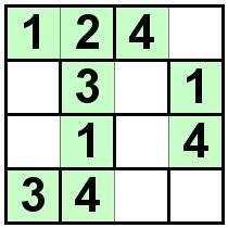 Number Logic Puzzles: 21684 - Bricks size 4