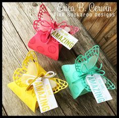 """By Erica Cerwin from """"Pink Buckaroo Designs"""", Stampin' Up! Butterfly Thinlits and Curvy Keepsake Box Dies ..."""