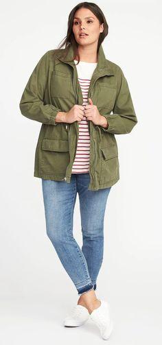 Plus Size Twill Field Jacket