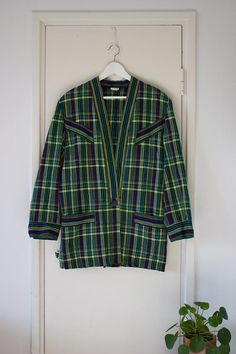 Hey, I found this really awesome Etsy listing at https://www.etsy.com/listing/548154199/vintage-striped-checkered-long-blazer