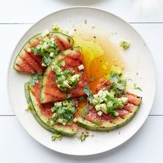 Grilled Watermelon with Avocado, Cucumber and Jalapeño Salsa | Food & Wine