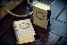 Vintage antique book boxes favor boxes - Wedding stationery