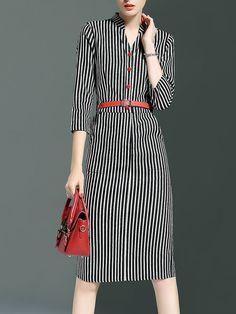Shop Midi Dresses - Casual 3/4 Sleeve Printed Midi Dress online. Discover unique…