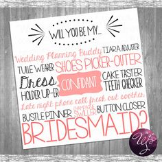 Bridesmaid Proposal Cards - Printable File Only (Available in other colors - msg me for custom listing); Ask Bridesmaid; Be My Bridesmaid on Etsy, $10.00