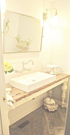 Side Table Converted to Bathroom Vanity