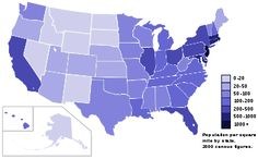 list of US states by population density